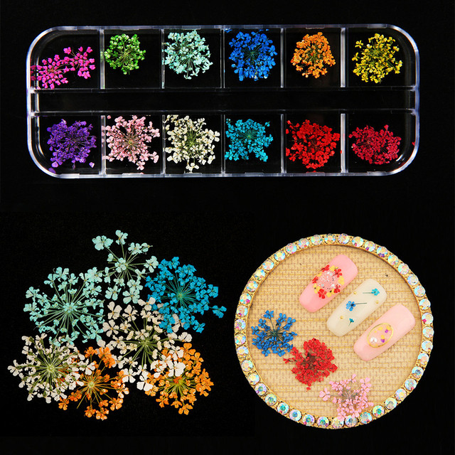 Coloridas uñas arte secas flores coloridas puntas pegatinas 3D láser más Popular maquillaje manicura DIY calcomanías decoración P # dropship