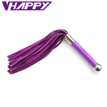 VaHppy 38cm Genuine Leather Spanking Paddle Flogger Whip Flirting Sexy Leather Whip Sex Toys For Adults bdsm bondage hand feel