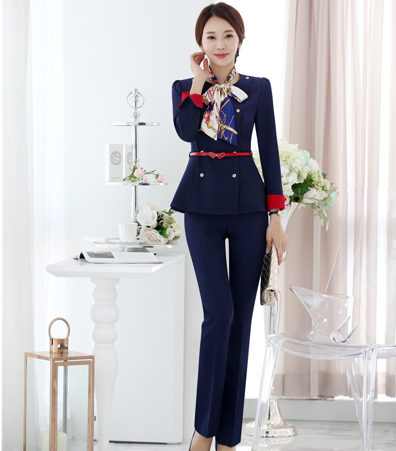 2018 Fashion Uniform Styles Pantsuits With Jackets And Pants For Ladies Female Pants Suits Blazers Sets With Scarf And Belt