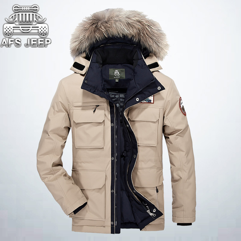 Warm Thick Winter Jacket Men   Down     Coat   New 2017 Brand AFS JEEP Loose Casual Parka Homme Fur Collar Military Clothing