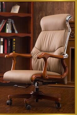 Real wood study chair. Can lie boss chair. Home office chair. Real leather leisure computer .027 240320 home office can lie down high density inflatable sponge 360 degrees can be rotated computer chair boss massage chair