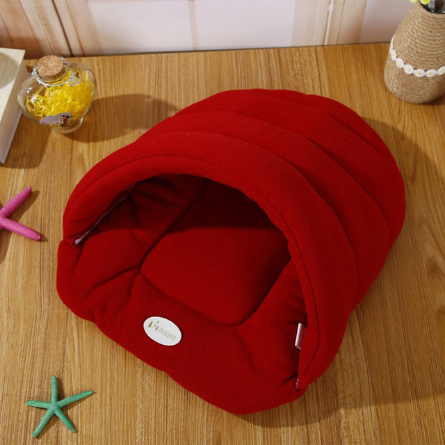 Hot! Pet Cat Bed Small Dog Puppy Kennel Sofa Polar Fleece Material Bed Pet Mat Cat House Cat Sleeping Bag Warm Nest High Quality 1