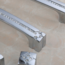 160mm  Solid Bookcase Cabinet Door Handles Chrome Villadom Handle Diamond Contemporary Furniture Hardware Knobs