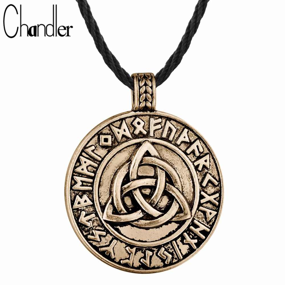 Chandler 1pcs Chain Viking Slavic Talisman Triangle Celti Knot Pendant Necklace Nordic Vikings Rune Amulet Torque Lucky Gifts