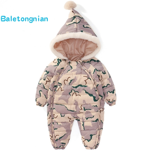 680a239248d4 Kids Down Cotton Jumpsuit Newborn Rompers Winter coat Thick Boy Snow ...