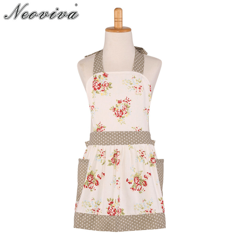 Neoviva Canvas Painting Apron with Pockets for Toddler Little Diana Floral Nitong Roses Home Apron Girls Avental Tablier Enfant