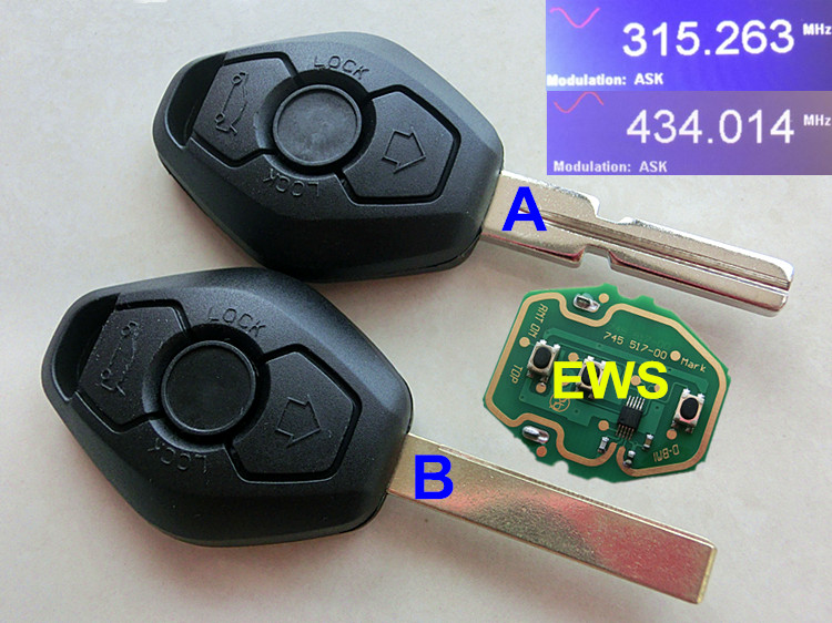 RMLKS High quality 3 Button Remote Key Fit For BMW E38 E39 E46 EWS CAS System 433MHz 315MHz With PCF7935AA ID44 Chip Uncut Blade