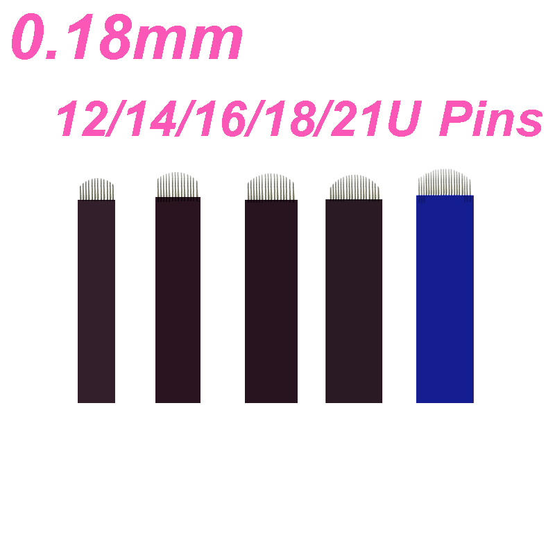 0 18mm U Shape Microblading Needle 12 14 16 18 21 Lamina Tebori 18 Pin Permanent Makeup Tattoo Eyebrow Manual Pen 3d Embroidery in Tattoo Needles from Beauty Health