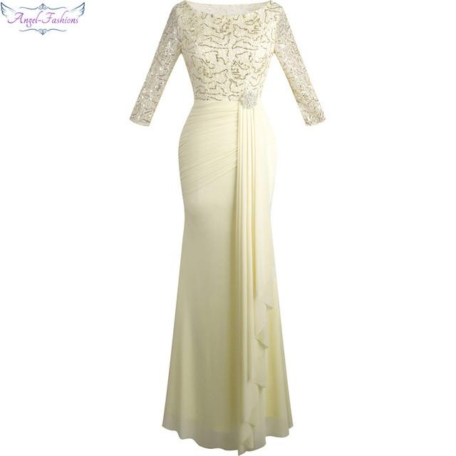 Angel-моды Половина рукава блесток See Through официальная Вечеринка Длинные Вечерние платья Шампанское 356