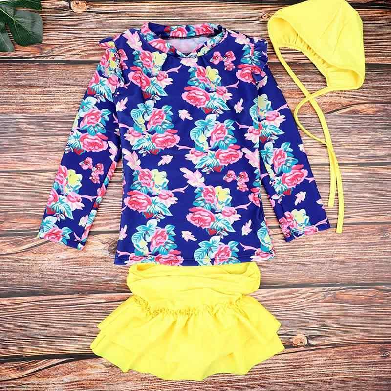 الأطفال الفتيان ملابس السباحة موضة بنات جميل الأميرة لطيف ملابس السباحة طويلة الأكمام بلايز + التنانير الفتيات بحر الاطفال فتاة بحر