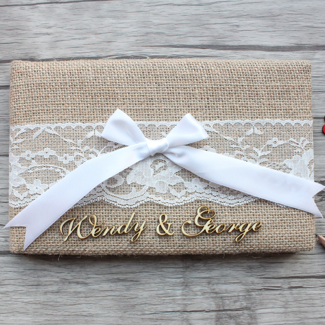 Aliexpress buy rustic wedding guest book personalized burlap rustic wedding guest book personalized burlap lace wedding guest book vintage engagement anniversary guestbook wedding junglespirit Image collections