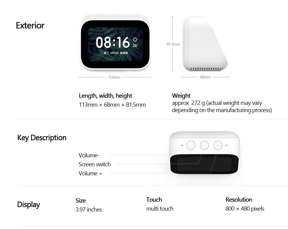 Original Xiaomi AI Touch Screen Bluetooth 5.0 Speaker Digital Display Alarm Clock WiFi Smart Connection Speaker Mi speaker (17)