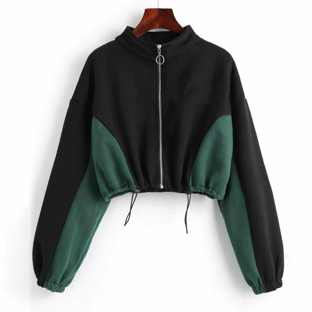 233c41f8 Women Hoodies Sweatshirt Female Round Neck Zipper Sweatshirt Long Sleeve  Short Top ladies Sweatshirt Blouse sudadera