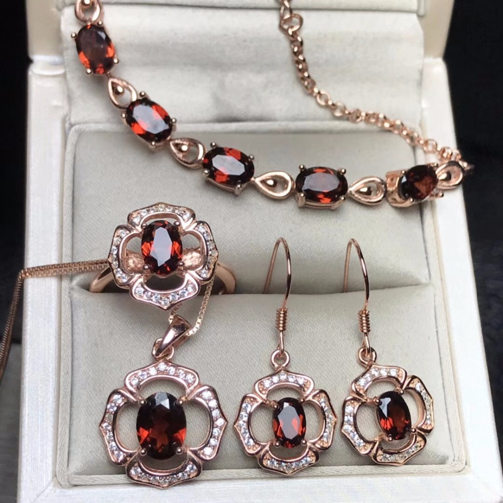 Natural garnet jewelry set four piece set affordable