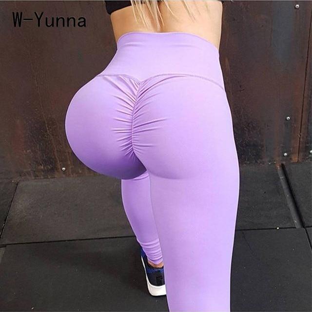 W Yunna Big Ass Solid Color Sexy Women Legggings Ankle Length Slim Push Up Leggings Women High Waist Leggin Suit For Runs Jogger