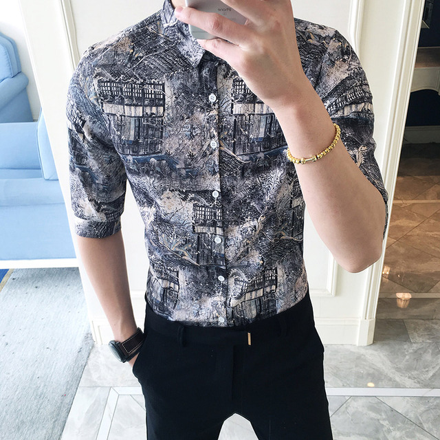 New Male Half Sleeve Shirt Fashion Slim Flower Shirts Men Pattern Printed Country Style Tide Summer