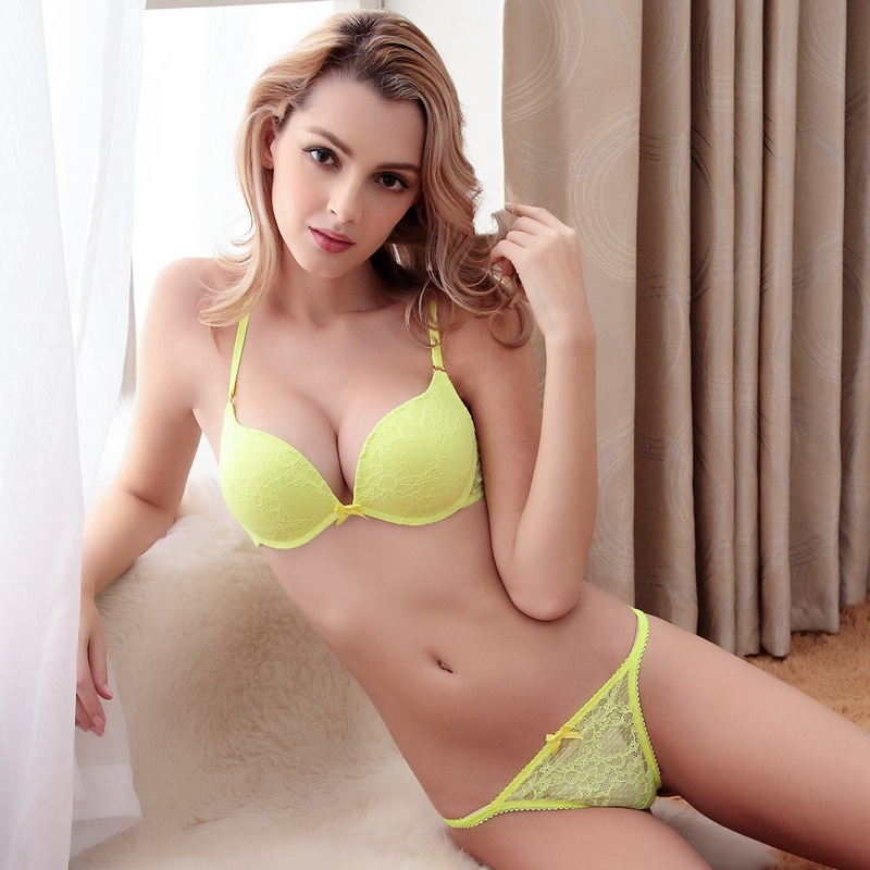 006b1bfe10 2018 Brand Sexy Deep V-neck Full Lace Floral Princess Underwear Bra Set Vs Push  Up Bra With Thong Set