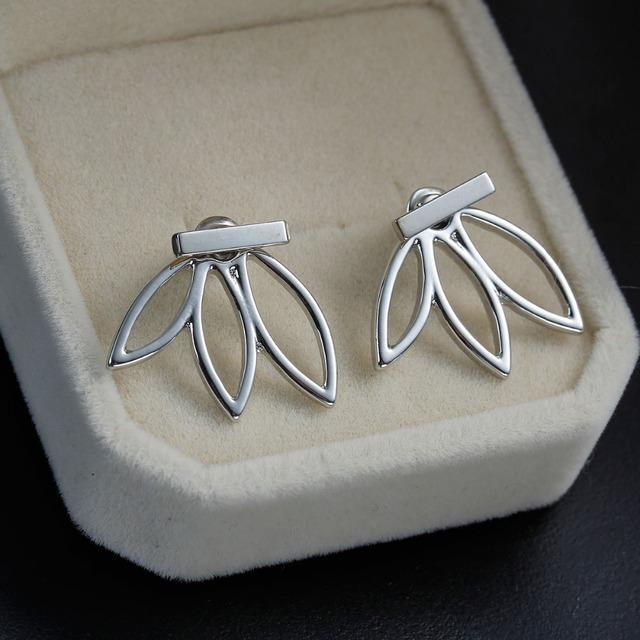 DoreenBeads Vintage Lotus Earrings Metal Bar Stud Earrings Fashion Ear Jacket Woman Jewelry gold color / dull silver color 1 PC