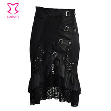 Black Satin&Hollow Out Floral Lace Patchwork Ruffles Buckle Details Plus Size Victorian Gothic Skirt Steampunk Skirts For Women
