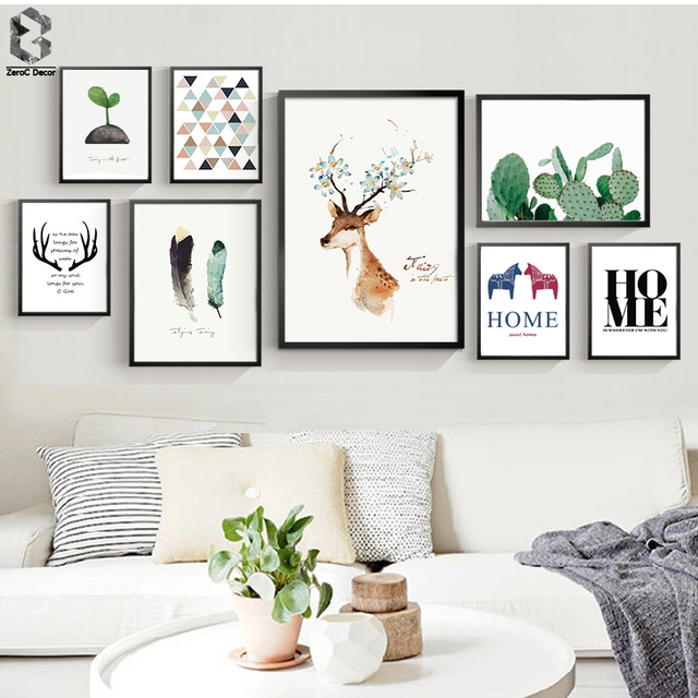 Nordic scandinavian art prints watercolor animal poster cactus wall picture quote canvas for Canvas prints childrens bedrooms