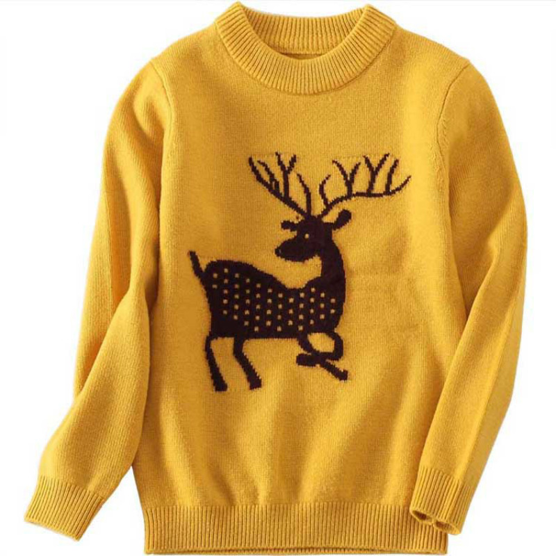 Christmas Sweater with Deer for Girls Boys Pullover Cashmere Jacket as Family Clothes Wool Sweater for Male and Female 2017 new cashmere sweater women clothes 100