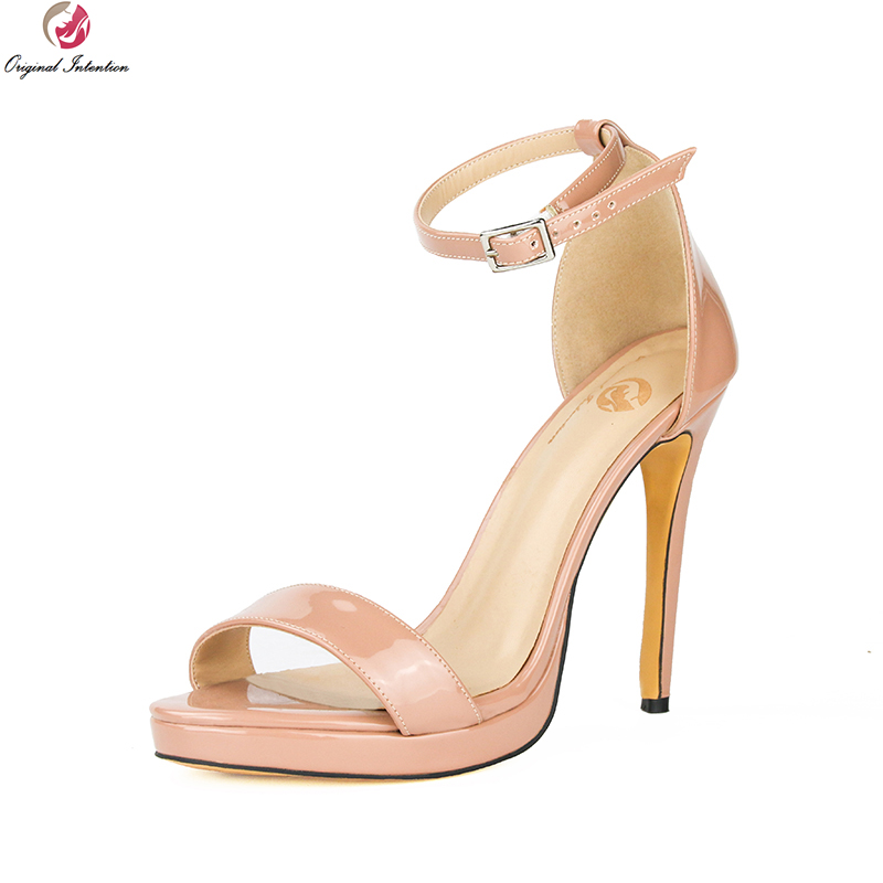 original intention super sexy women sandals fashion open toe thin high heels fashion black red shoes woman plus us size 4 15 Original Intention Concise Women Sandals Open Toe Thin High Heels Fashion Black White Nude Red Shoes Woman Plus US Size 4-15
