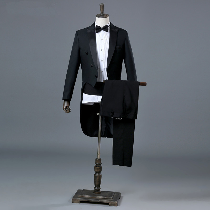 England gentleman two-piece suit men's classic suit black men groom tuxedo dress and ball gown (coat + pants + belt + bow tie) dedo mg 381 british gentleman bow tie black