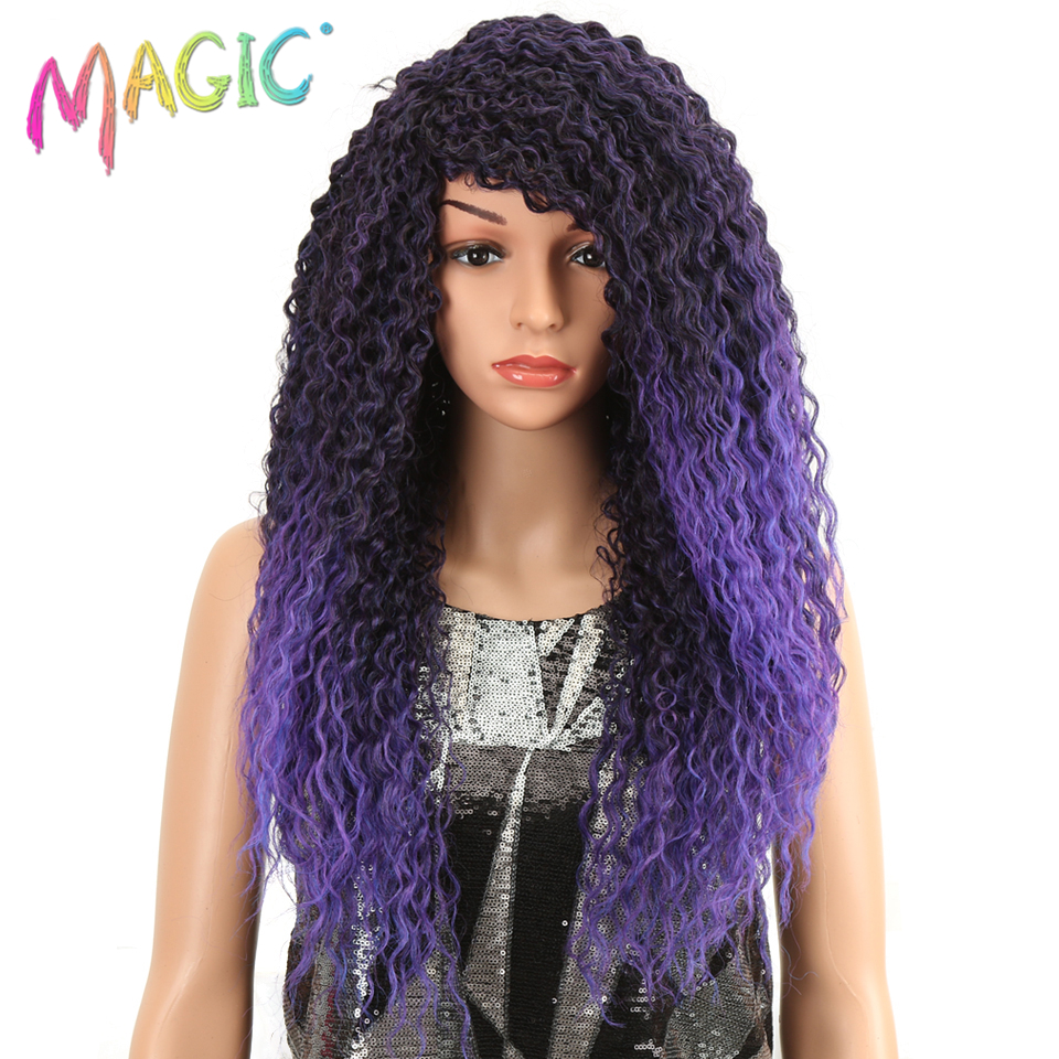 MAGIC Curly Wigs Synthetic Hair Long Womens Wigs 26 Inch Synthetic Wigs For Women  Purple Color Heat Resistant Free Shipping