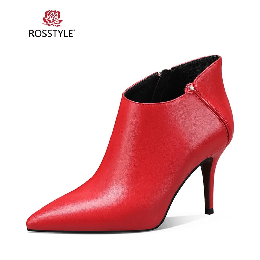 Sólido Arranque Cuero Delgada B43 Punta Moda Rosstyle Tobillo Calidad Black Invierno De Oficina red Mujer Dama Genuino 2018 Bota Tacones Elegante AwxTv8