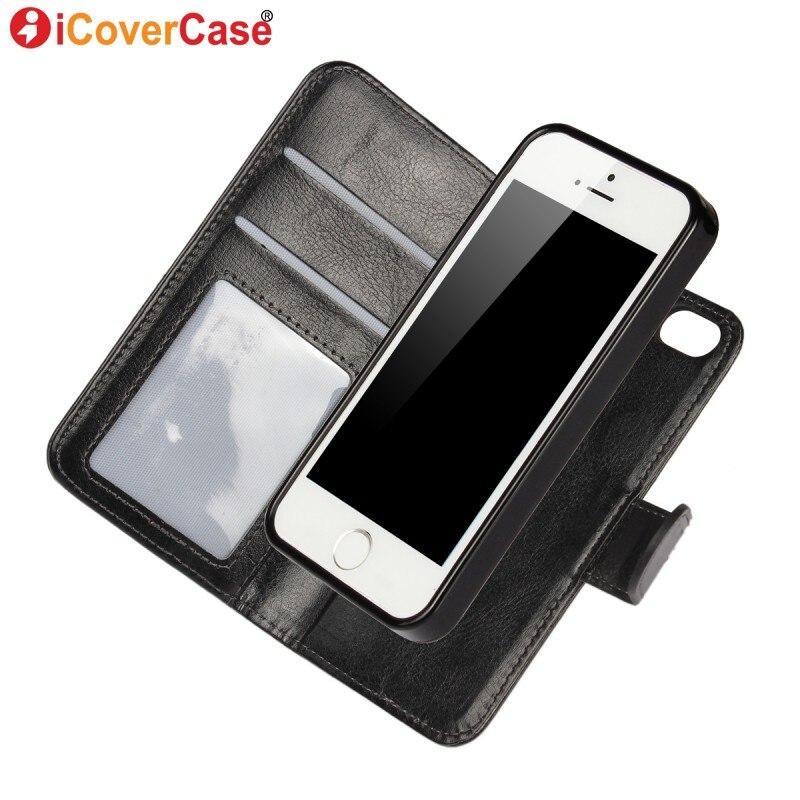 imágenes para Coque para iPhone 5S 5 SE 6 6 s 7 Más Caso Fundas Borde de cuero para Samsung Galaxy S6 S7 S8 Desmontable Cubierta Del Tirón Magnético billetera