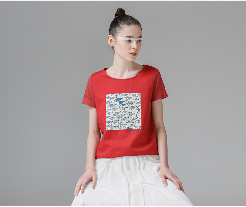 HTB16wGrQFXXXXcMXXXXq6xXFXXXD - t shirt femme 2017 Summer Fish Tees Tops O-Neck