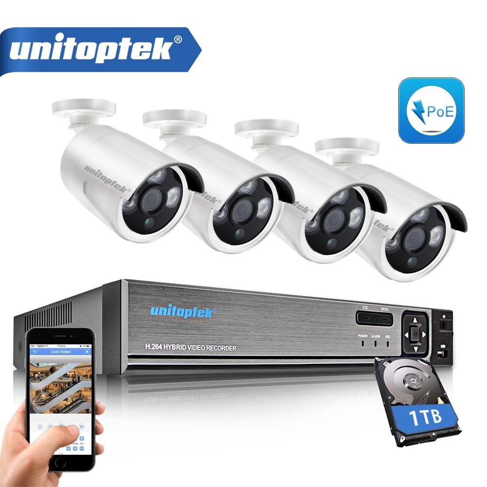 HD 1080P 4CH NVR POE Security System Kit With 4Pcs 1.0MP 720P Bullet IP Camera Outdoor Home Video Surveillance System P2P Cloud 2 0m 4pcs cloud
