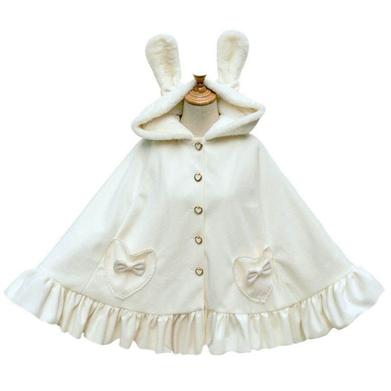 2 Colors Ladies Autumn Winter Tweed Gothic Shawl Cloak Hooded Cape Lolita Sweet Bunny Poncho Coat