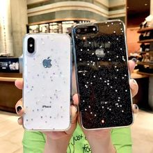 Fashion Glitter Bling Star Cases For iPhone 8 7 Plus Transparent Shining Solf Silicone Cover Phone Case 6 6S X