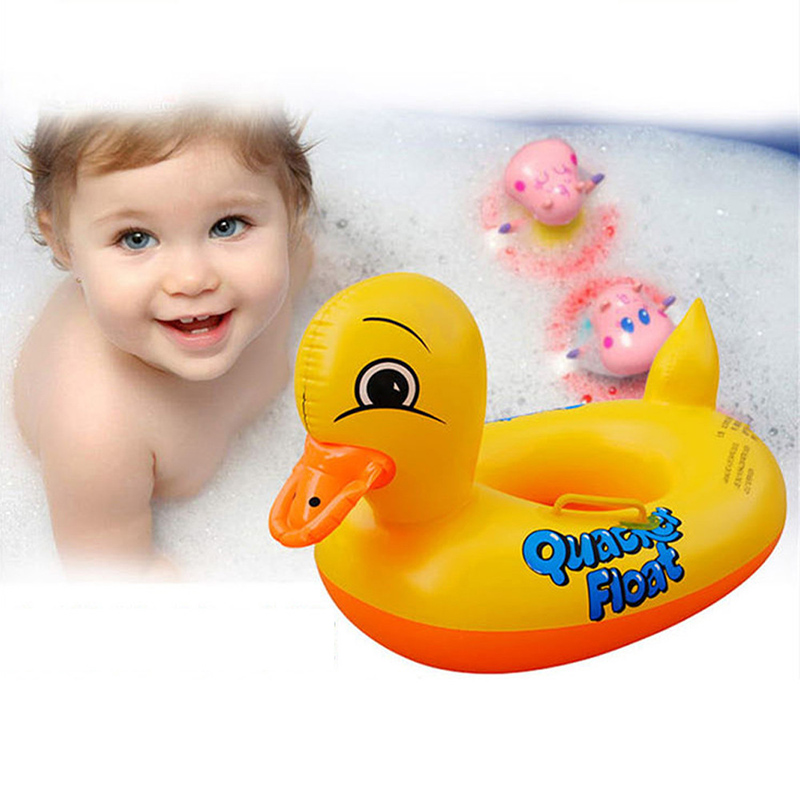 1-3 years Hot Duck Design Cute Kids Baby Child PVC Inflatable Swimming laps Pool Swim Ring Seat Float Boat Water Sports summer