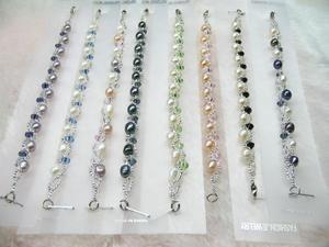 Fashion 10pcs Freshwater Pearl Crystal Bracelet