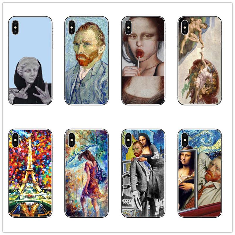 Van Gogh MONA LISA DAVID Phone Case Art Paint Pattern Print TPU Silicone for iphone 8