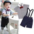 2016 Conjuntos de Roupas Meninos Cavalheiro Camisa Jeans Bonito Calças 2 pçs/set Ternos Do Bebê Dos Miúdos Crianças Venda Quente