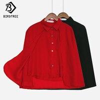 Alta Calidad de Otoño 2017 Mujeres Ropa de Trabajo Blusas de Gasa Capas Dos T77716A Kimono Blusas Camisas Tops Ropa de Mujer Negro Rojo
