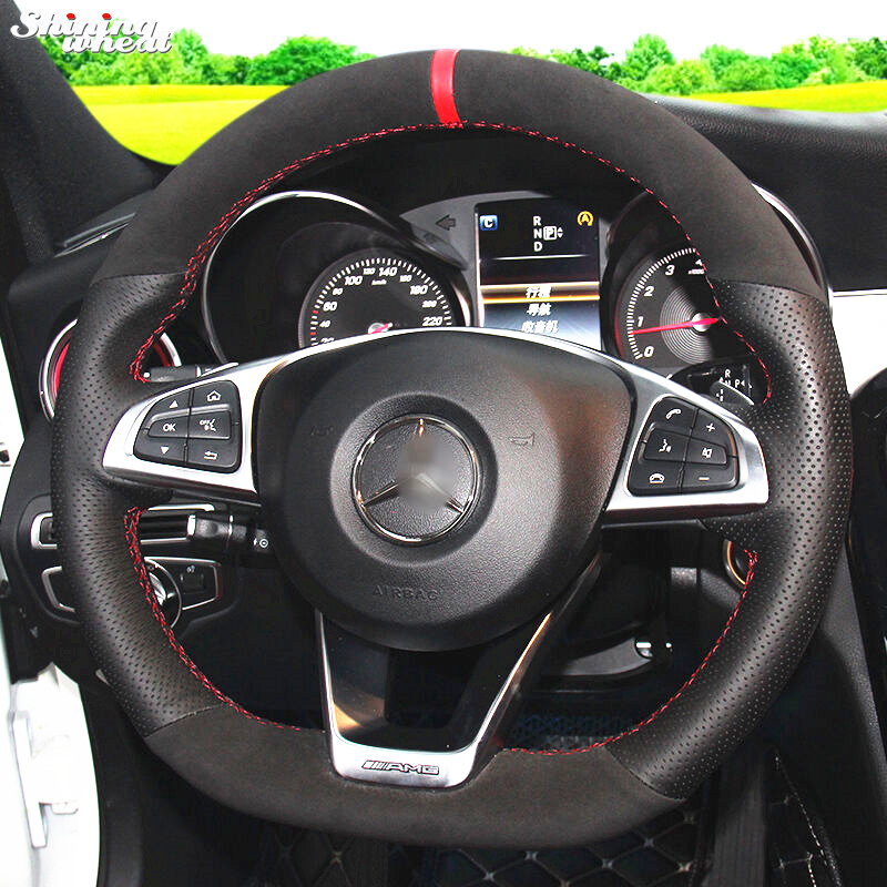 Black suede black genuine leather steering wheel cover for for Mercedes benz steering wheel cover