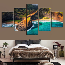 Painting HD Printed Canvas Wall Art Poster Home Decoration 5 Panel Kauai Hawaii Landscape Living Room Modular Pictures Framed
