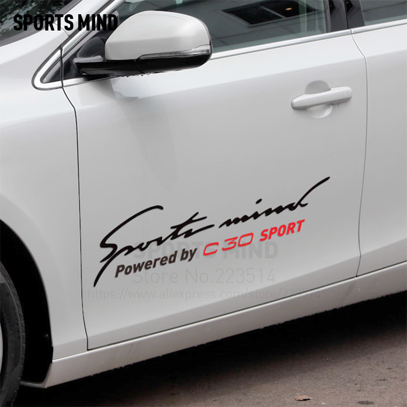 2 Pieces Sports Mind Car-Styling On Car Body Reflective material Decals Vinyl Car Sticker For volvo c30 car accessories
