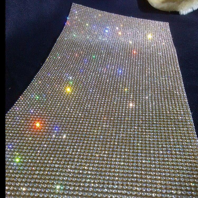 Factory Promotion!3mm Gold Base Clear Rhinestone Trim Rhinestone Wrap Mesh Roll,beaded Applique DIY Crystal Stone Bridal Trim