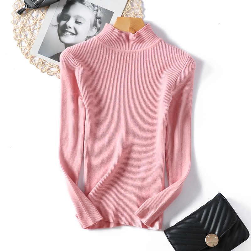 Nouvelle mode automne hiver femmes pulls pull mince demi-cou chaud femme tricoté élasticité chandails pull décontracté