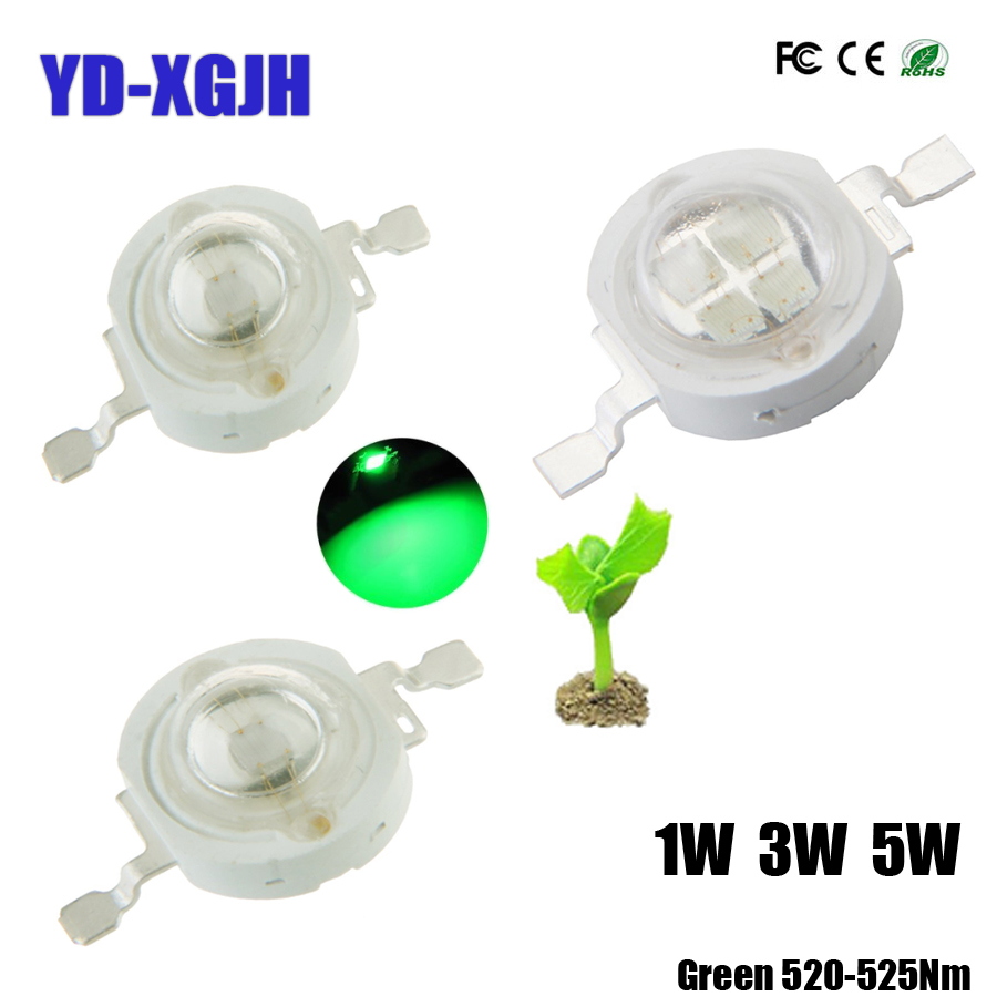 10pcs Real Full Watt <font><b>CREE</b></font> 1W 3W <font><b>5W</b></font> Green High Power <font><b>LED</b></font> lamp Bulb Diodes SMD 110-120LM <font><b>LEDs</b></font> Chip For 3W-18W Spot light Downlight image