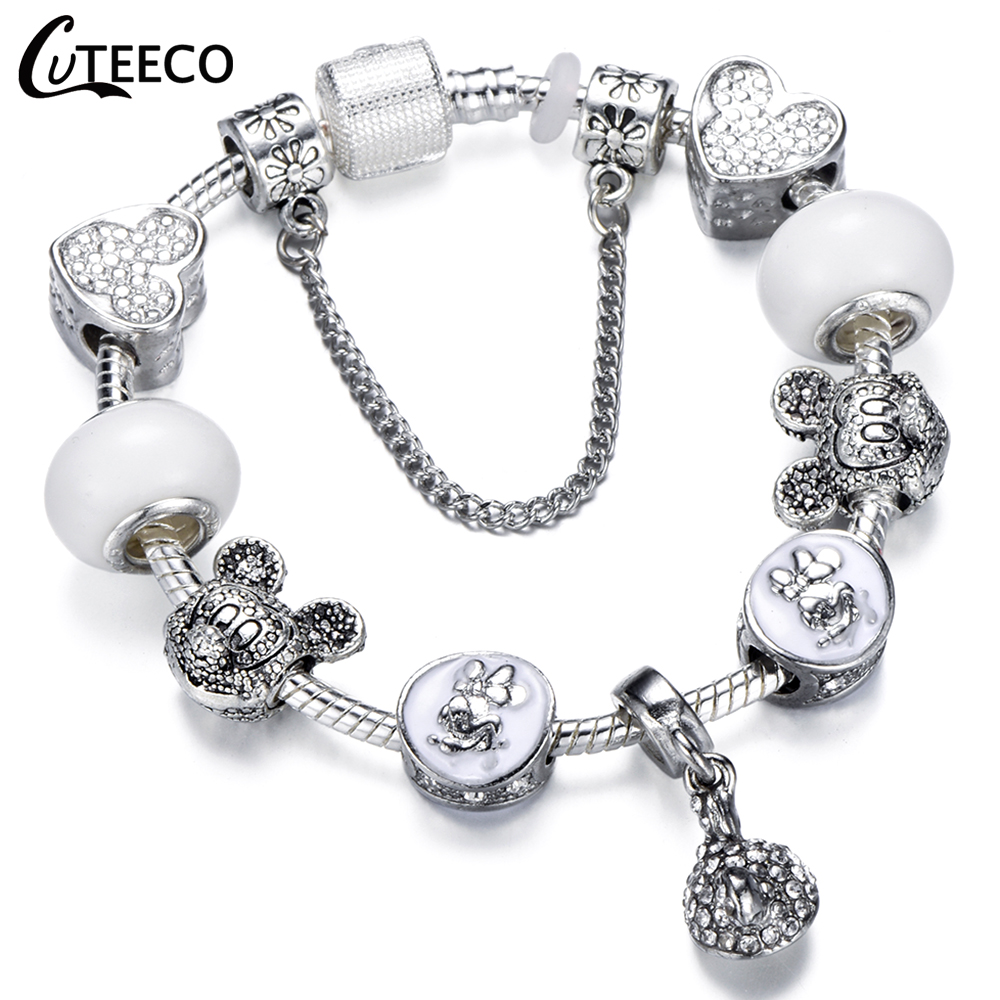 CUTEECO 925 Fashion Silver Charms Bracelet Bangle For Women Crystal Flower Fairy Bead Fit Brand Bracelets Jewelry Pulseras Mujer 26