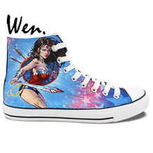 Wen Hand Painted Blue Canvas Shoes Design Custom Wonder Woman Men Women's High Top Canvas Sneakers Christmas Gifts