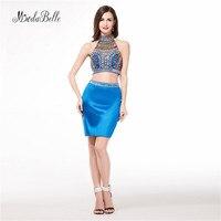 Modabelle Королевского синего цвета, короткие облегающие платья из двух частей для выпускного вечера, Украшенные бусинами и кристаллами, с высо