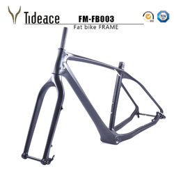 2018, envío gratis, marco de bicicleta gruesa de carbono con horquilla 26er BSA, bicicleta de carbono para nieve, marco de bicicleta gruesa de carbono + horquilla + eje pasante