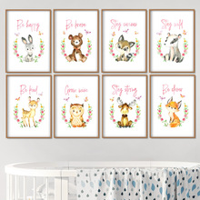 Rabbit Bear Deer Fox Cat Nursery Wall Art Canvas Painting Nordic Posters And Prints Animal Picture Girl Boy Kids Room Decor